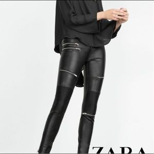 Zara faux leather pants with zips size Small